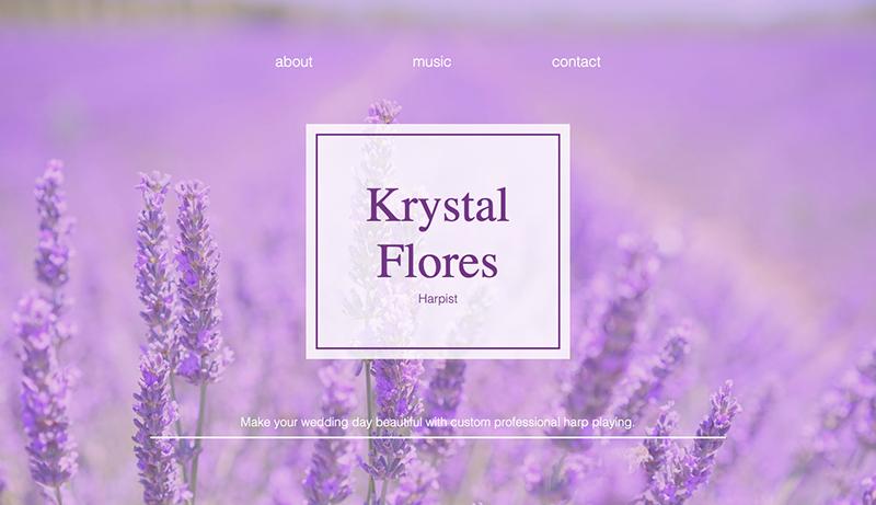 Krystal Flores Harpist website with lavendar flower background